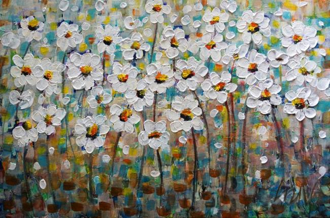 Art: Daisy Abstract by Artist LUIZA VIZOLI