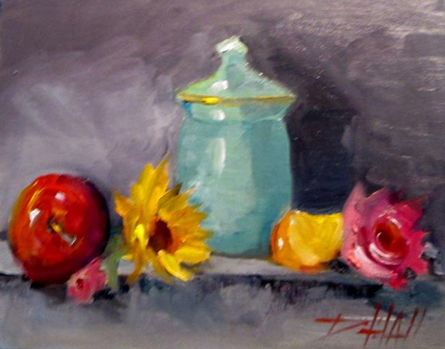 Art: Still Life with Fruit and Flowers by Artist Delilah Smith