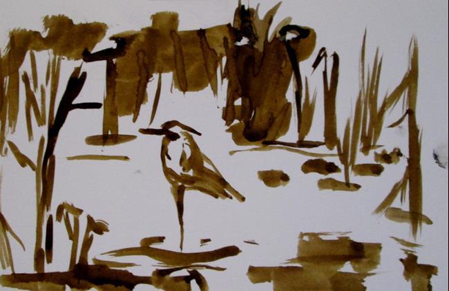 Art: Heron in the Marsh by Artist Delilah Smith