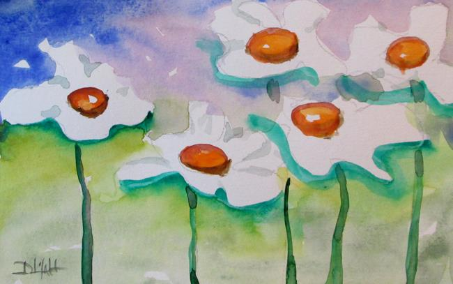 Art: Five White Flowers by Artist Delilah Smith