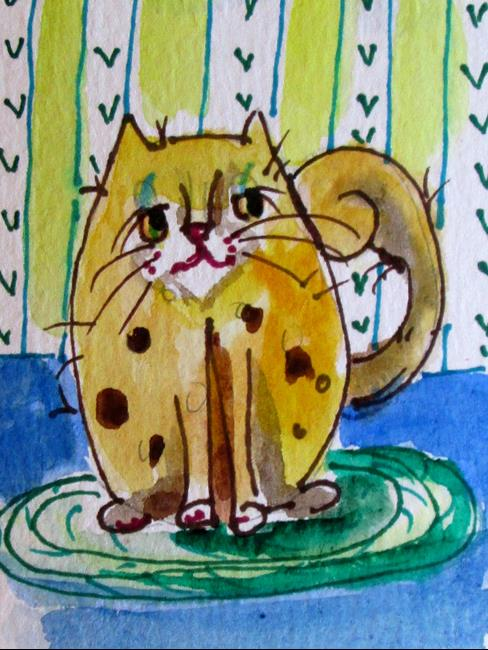 Art: Cat on a Rug by Artist Delilah Smith
