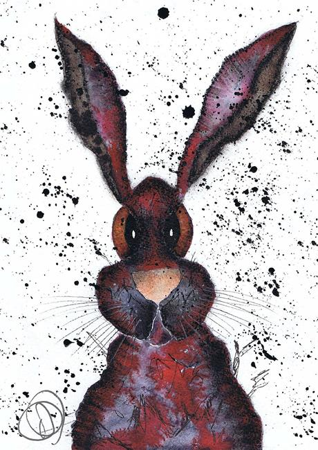 Art: RED HARE h2209 by Artist Dawn Barker