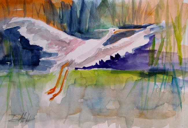 Art: Flying Egret by Artist Delilah Smith