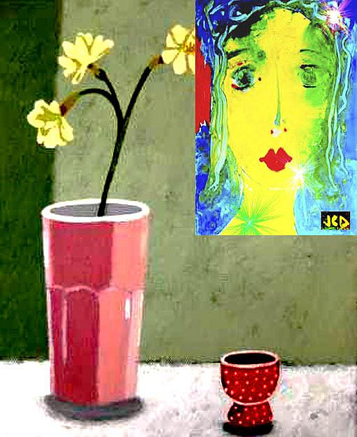 Art: FLOWERS with my painting by Artist Jean-Claude Delhaise