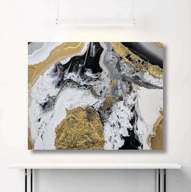 Art: Golden Geode (sold) by Artist Amber Elizabeth Lamoreaux