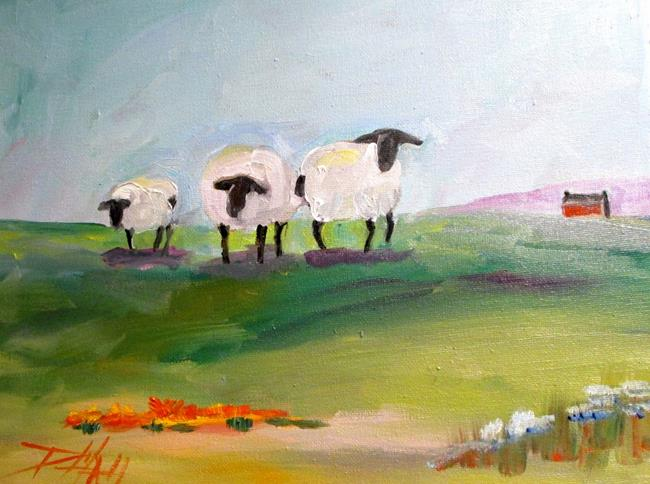 Art: Sheep on the Hill by Artist Delilah Smith