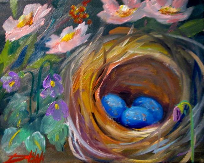 Art: Nest and Flowers by Artist Delilah Smith