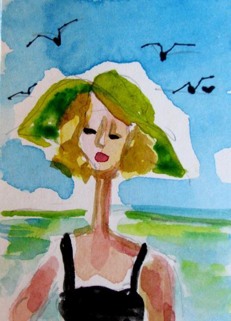 Art: Green Hat by Artist Delilah Smith