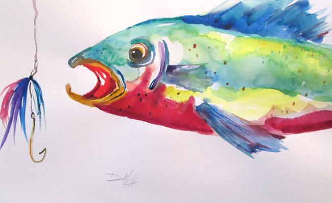 Art: Trout and Lure by Artist Delilah Smith