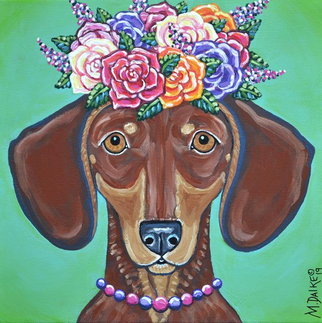Art: Rosie Mae Flower Doxie by Artist Melinda Dalke
