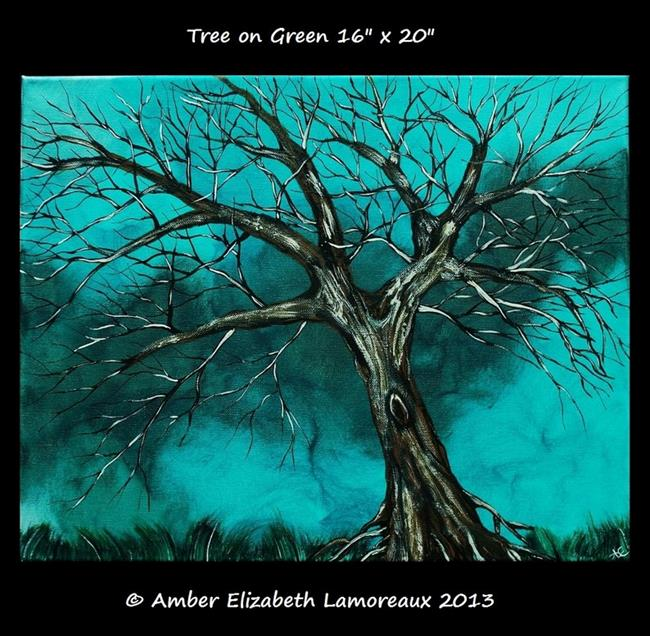 Art: Tree on Green (sold) by Artist Amber Elizabeth Lamoreaux
