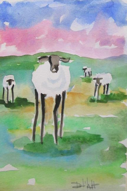 Art: Long Legged Sheep No.4 by Artist Delilah Smith