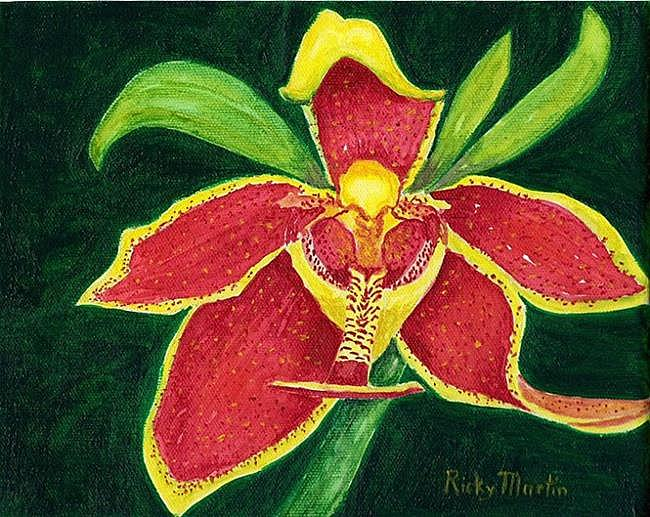 Art: Orchid in Bloom - SOLD by Artist Ulrike 'Ricky' Martin