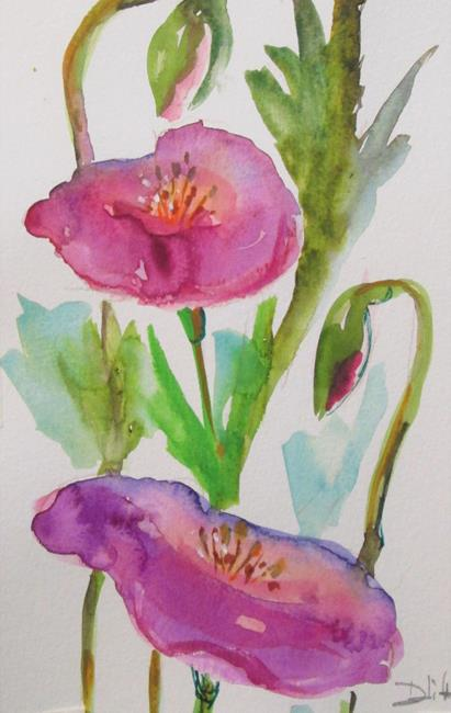 Art: Pink Poppies by Artist Delilah Smith