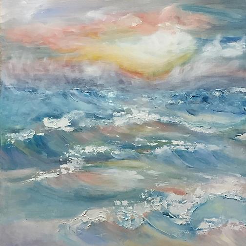Art: Lake Michigan Mist lr by Artist Alma Lee