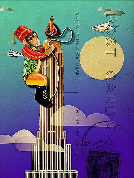 Art: Postcard Monkey lr by Artist Alma Lee