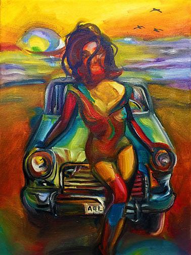 Art: Route 66 sunset lr by Artist Alma Lee