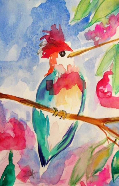 Art: Red Head Hummingbird by Artist Delilah Smith