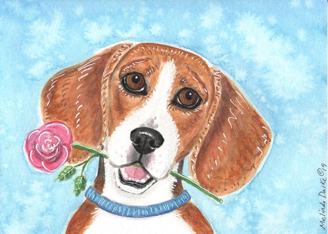 Art: Beagle & Rose by Artist Melinda Dalke