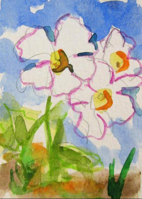 Art: White Flowers Aceo by Artist Delilah Smith