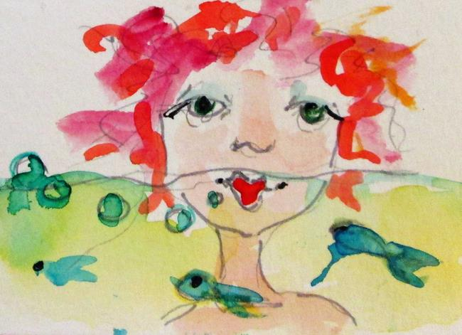 Art: Mermaid and Fish Aceo by Artist Delilah Smith