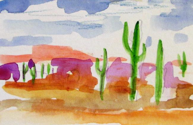 Art: Desert Cactus aceo by Artist Delilah Smith