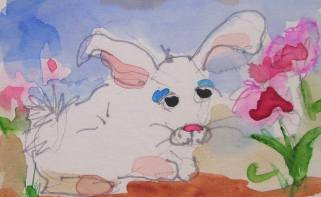 Art: Bunny and Flowers Aceo by Artist Delilah Smith