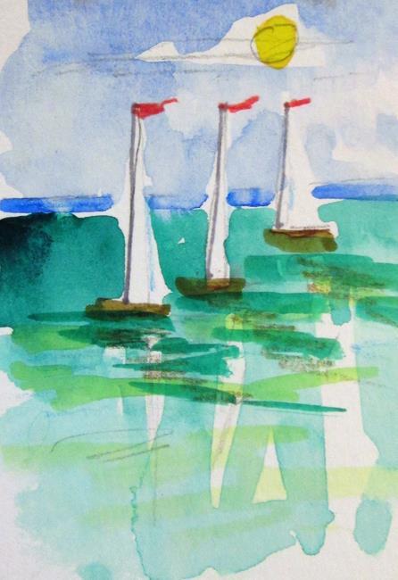 Art: Three Sailboats by Artist Delilah Smith