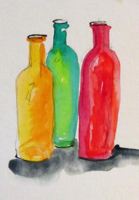Art: Three Bottles by Artist Delilah Smith
