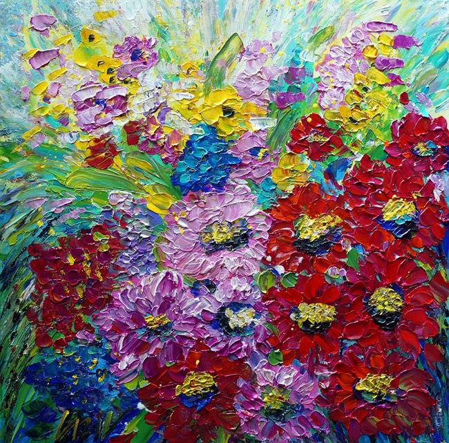 Art: SUMMER FLORAL GARDENS Gerbera Daisies by Artist LUIZA VIZOLI