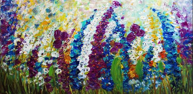 Art: Summer Mist  Flowers Garden. by Artist LUIZA VIZOLI