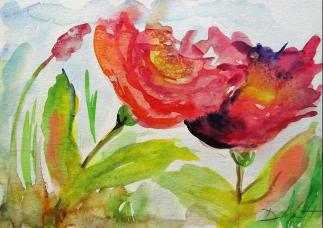 Art: Two Flowers by Artist Delilah Smith