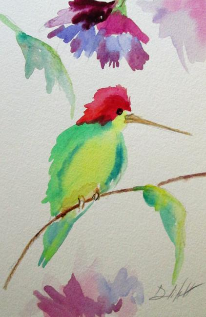 Art: Hummingbird on a Branch by Artist Delilah Smith