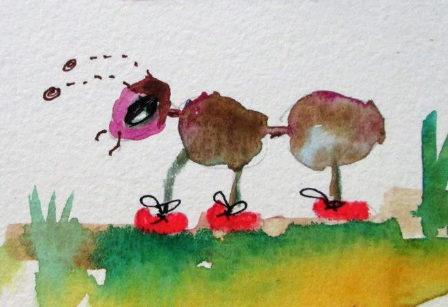 Art: Ant with Red Shoes by Artist Delilah Smith