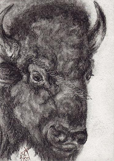 Art: Charcoal Dark Buffalo by Artist Kim Loberg