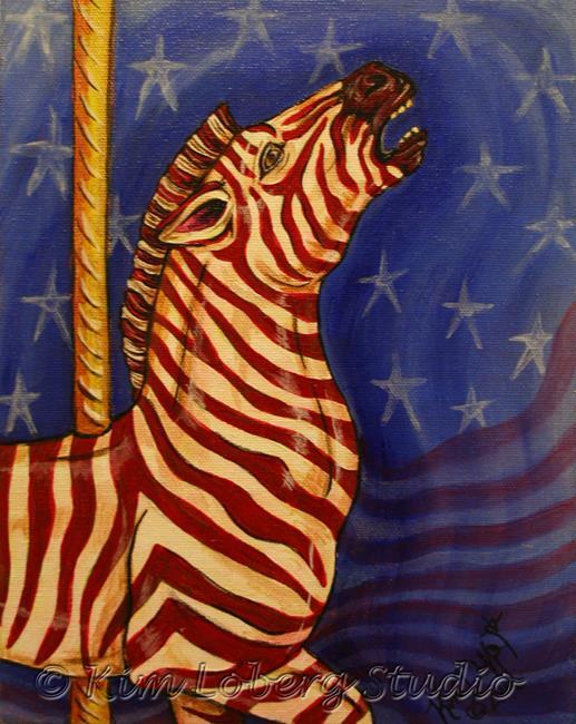 Art: Stripes Herschell-Spillman Zebra #1 by Artist Kim Loberg