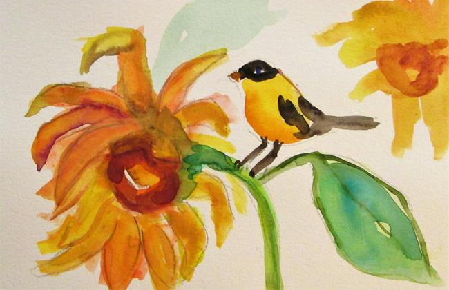 Art: Goldfinch and Sunflowers by Artist Delilah Smith