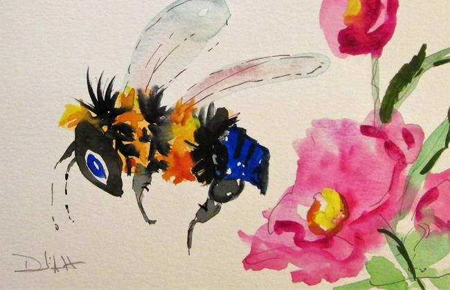 Art: Busy Bee and Flower by Artist Delilah Smith