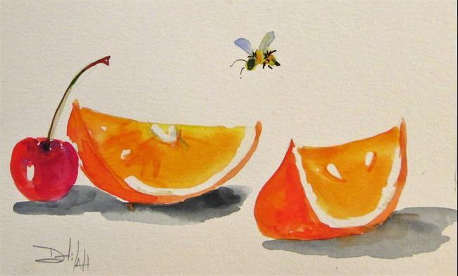 Art: Orange Slice and Cherry by Artist Delilah Smith