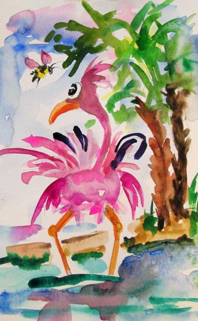 Art: Flamingo and Bee by Artist Delilah Smith