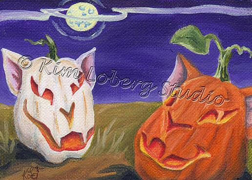 Art: Cat O Lanterns Under a Feline Moon by Artist Kim Loberg