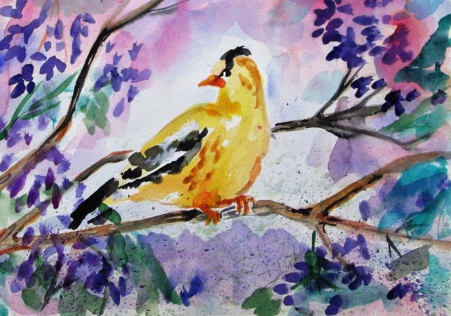 Art: Finch in a Lilac Bush by Artist Delilah Smith