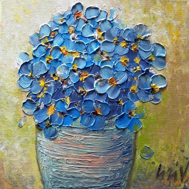 Art: Blue Pansy Flowers in a Pot by Artist LUIZA VIZOLI