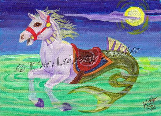 Art: Moonlit Carousel Seahorse by Artist Kim Loberg