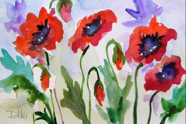 Art: Row of Red Poppies by Artist Delilah Smith