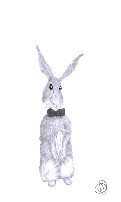 Art: HARE IN BOW TIE - h3956 by Artist Dawn Barker