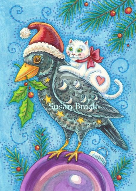 Art: HOLLY FEATHERS AND PURRS by Artist Susan Brack