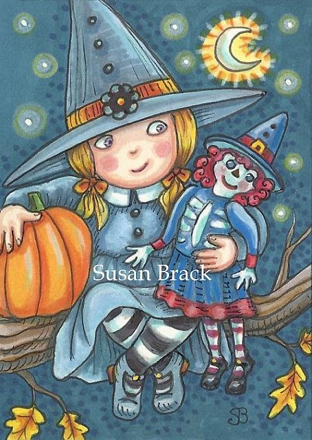 Art: LITTLE WITCH AND RAGGEDY HAG by Artist Susan Brack