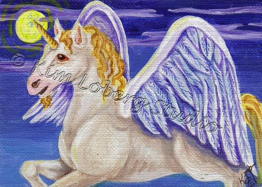Art: Winged Unicorn by Artist Kim Loberg