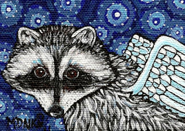 Art: Angel Raccoon by Artist Melinda Dalke